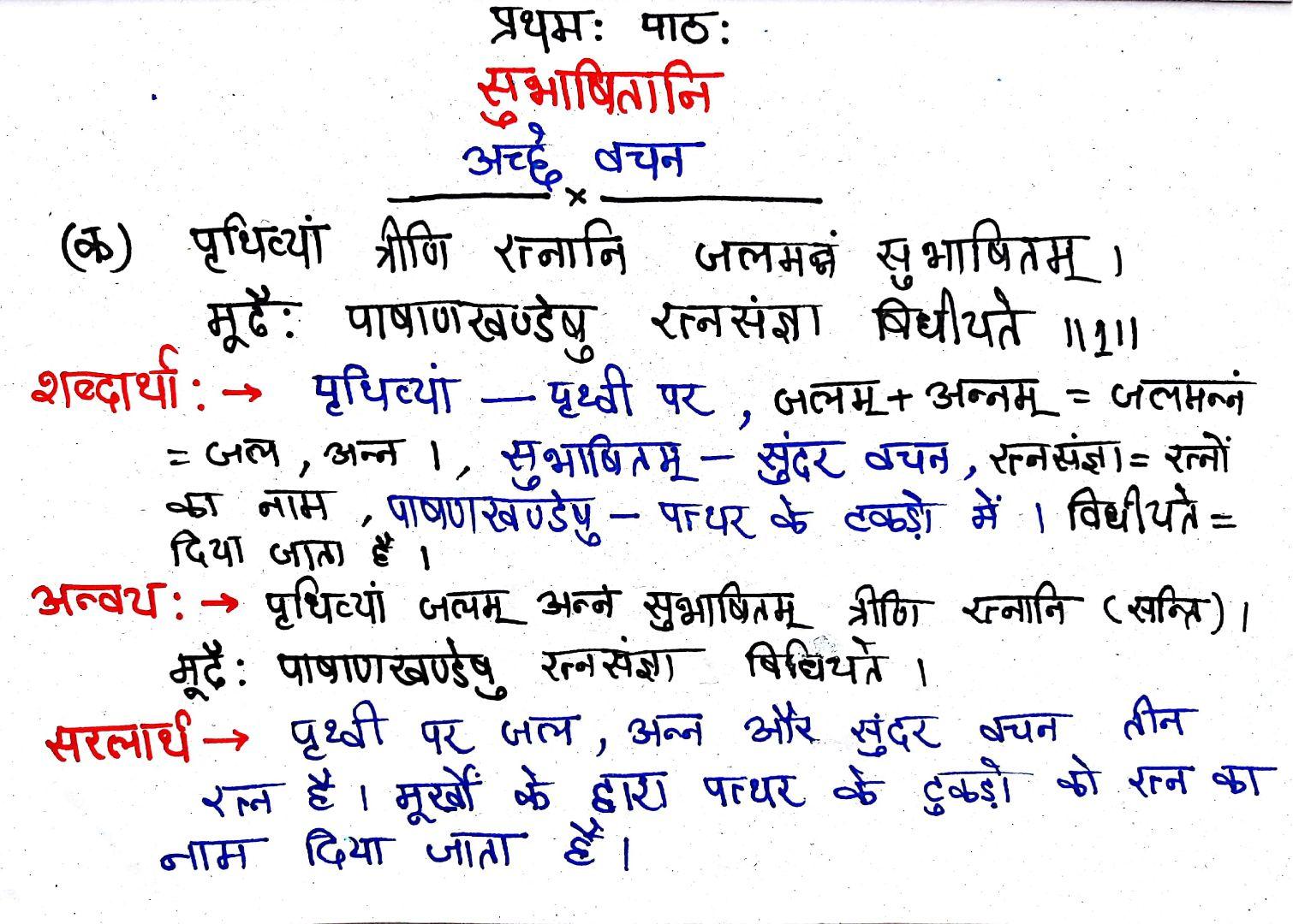 Class 7 Sanskrit Chapter 1 – सुभाषितानी