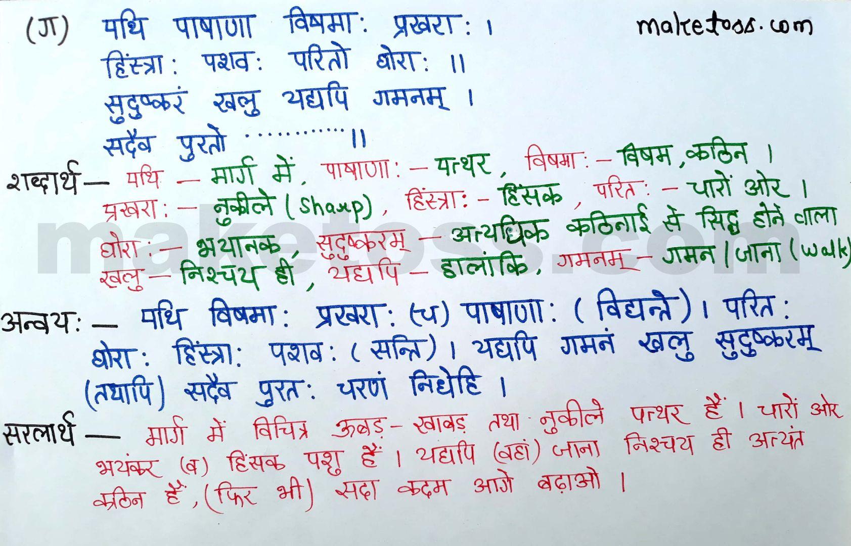 Sanskrit class 8 chapter 4 - सदैव पुरतो निधेहि चरणम्